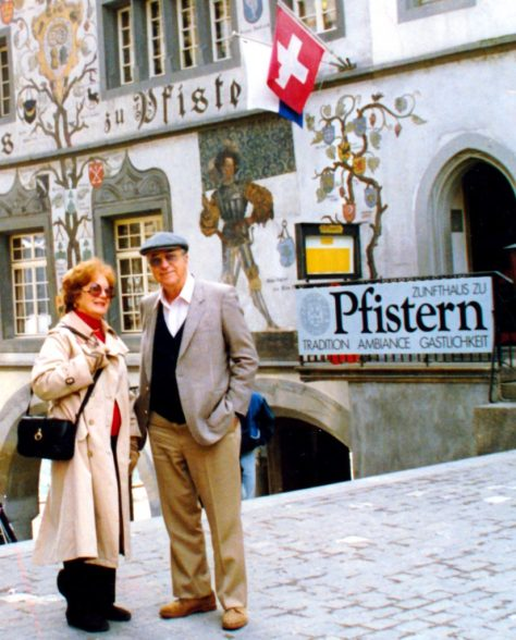 "My mom and dad -- Gloria and V. J. ""Bob"" LeBlanc -- on one of their many visits to us in Switzerland."