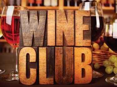 wine club logo carved in wood block image