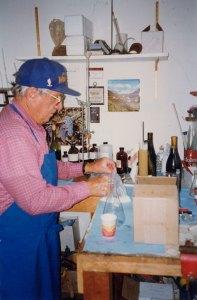 Meo working in winemaking laboratory at Piedra Creek Winery, circa 1985