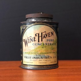 Wine Haven Fruit Concentrate tin container called Vine-Glo