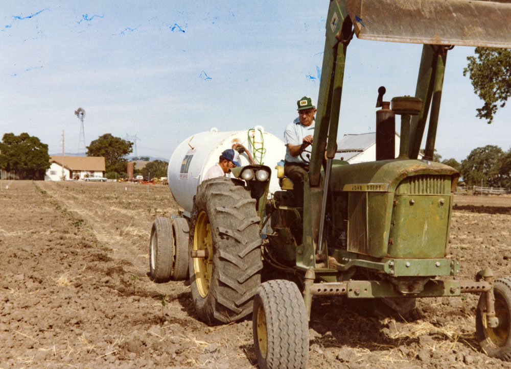 George Steinbeck on tractor with Howie hose watering babies by hand,1982.