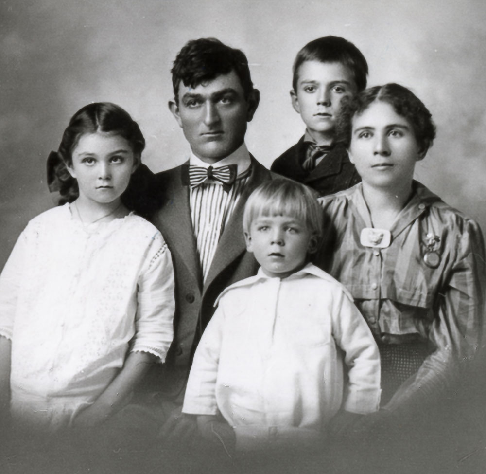 Frank and Rosetta Ernst, with children Harold, Hazel, and Elsworth, circa 1915.