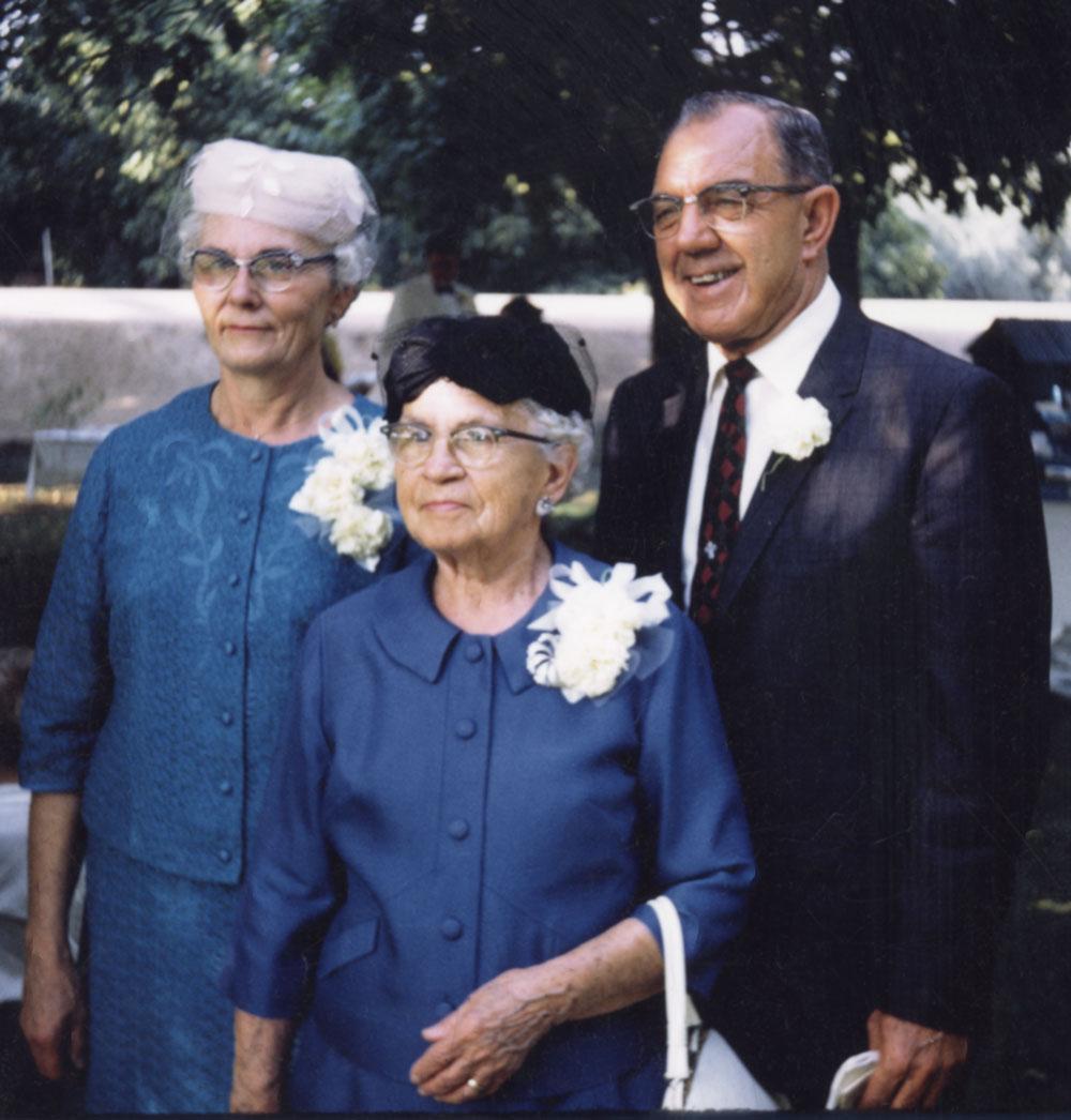 Hazel Ernst Steinbeck, Rosette Paulus Ernst, and Rev. George Steinbeck at Ed and Linda Steinbeck's wedding day on Sept 7, 1969.