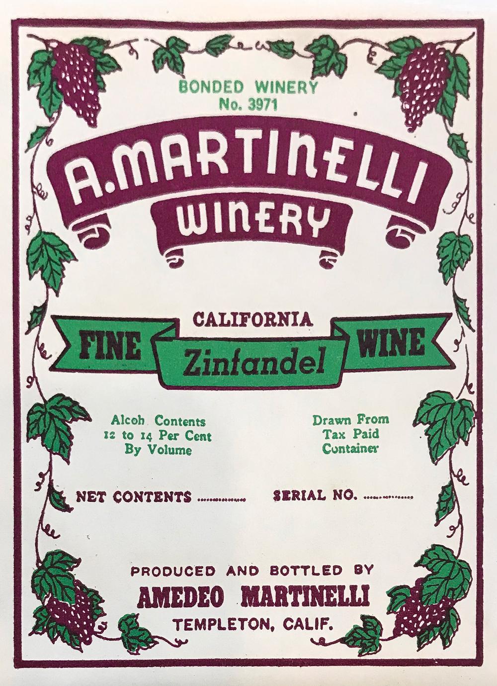 A. Martinelli Winery label: Fine Zinfandel Wine
