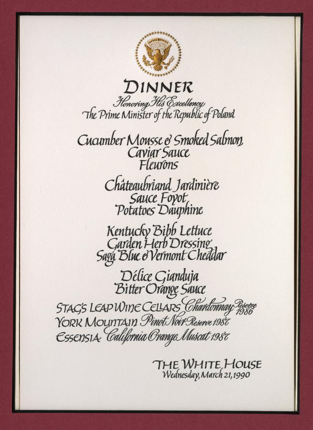White House Menu Mar 21, 1990
