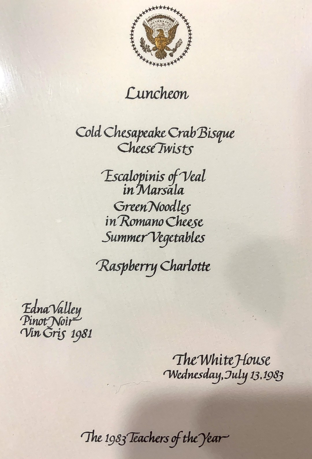 WhiteHouseMenu-Jul13-1983-EdnaValley