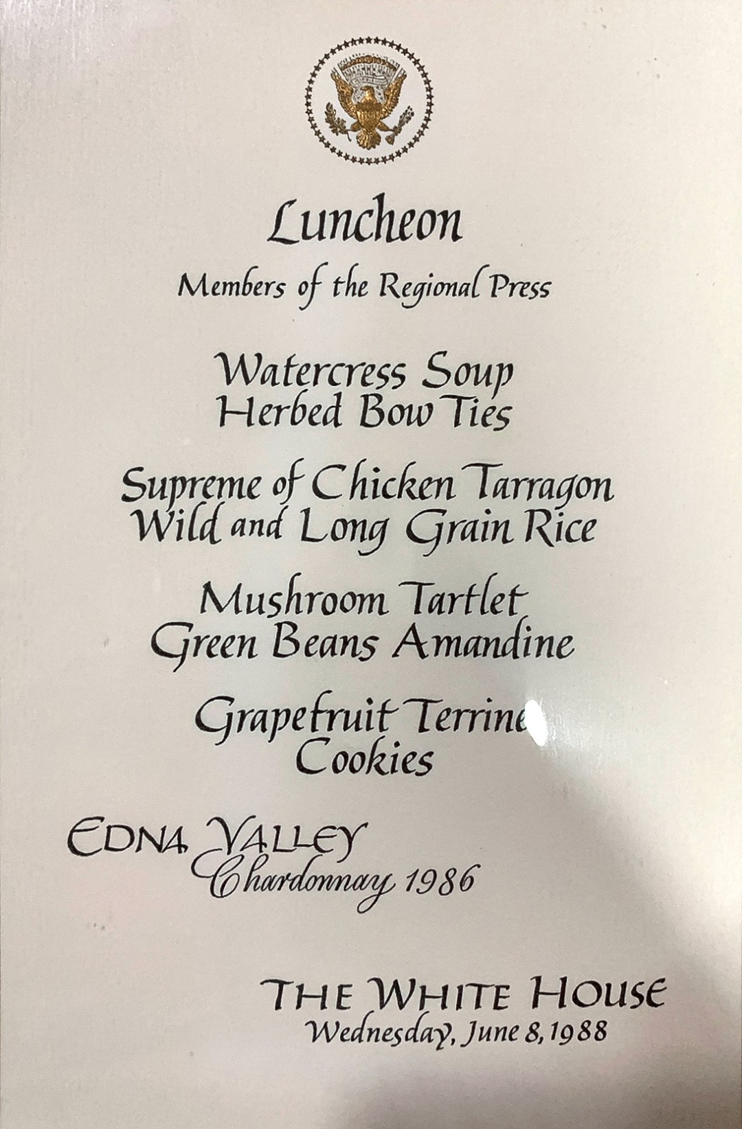 WhiteHouseMenu-Jun8-1988-EdnaValley