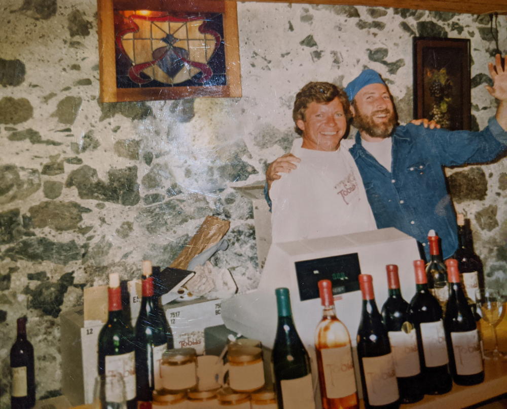 Doug Beckett and Pat Wheeler in the Tasting Room at Cayucos in the basement of the Way Station.