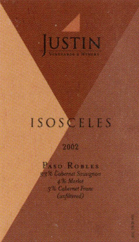 Justin Isosceles Wine Label2002