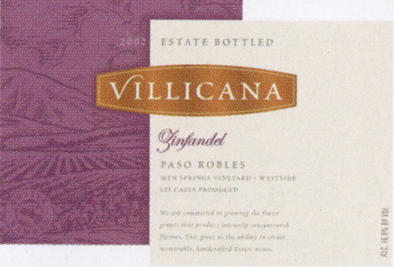 Villicana Zin wine label 2002