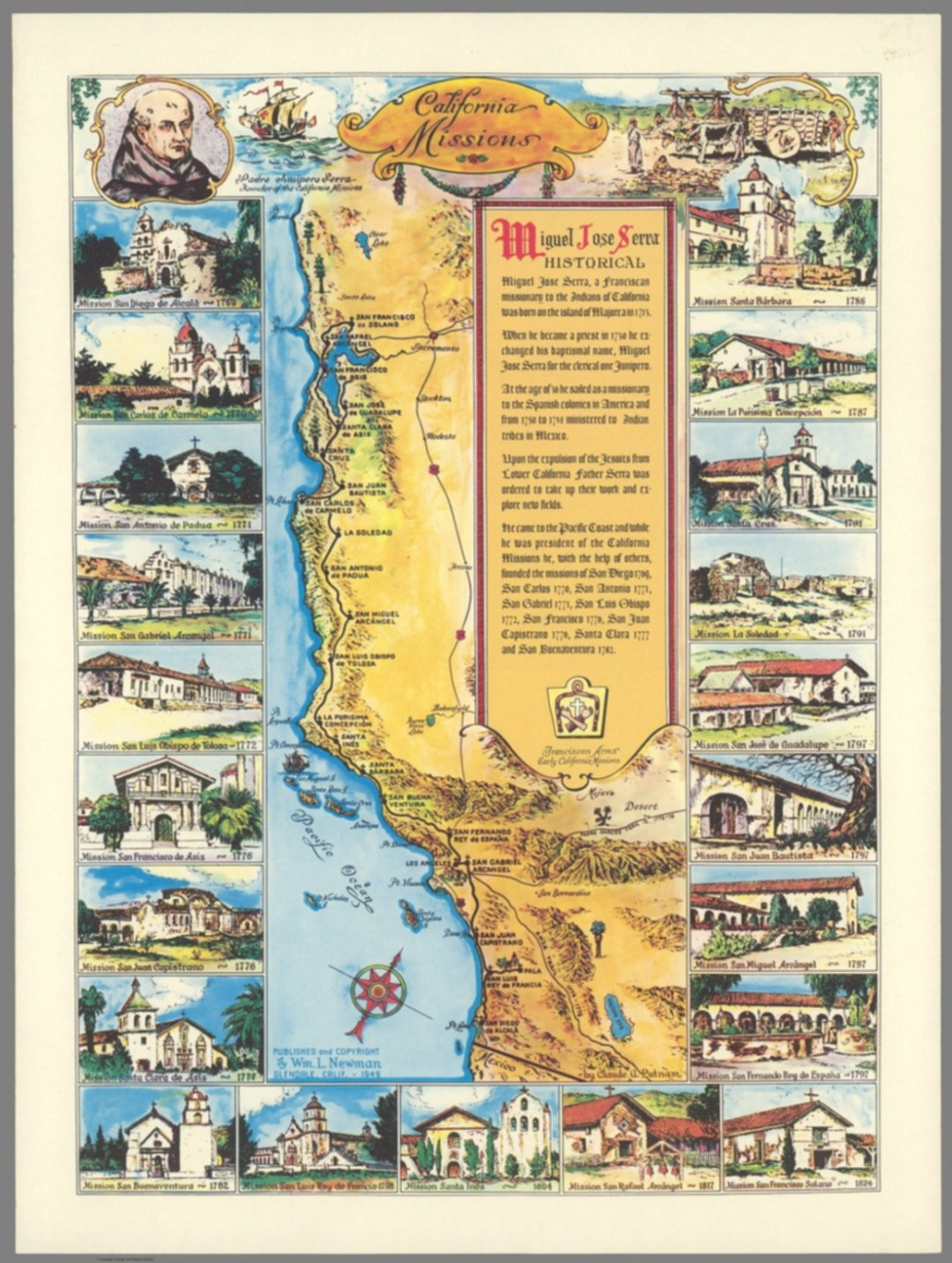 California Missions. By Claude G. Putnam, 1949. David Rumsey Historical Map Collection