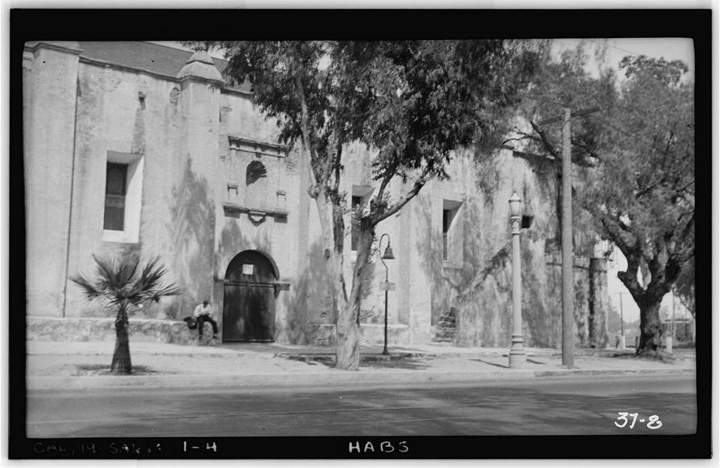 Front Elevation of Mission San Gabriel Arcángel, Historic American Buildings Survey Photographed by Frederick Scholer April 14th, 1934.