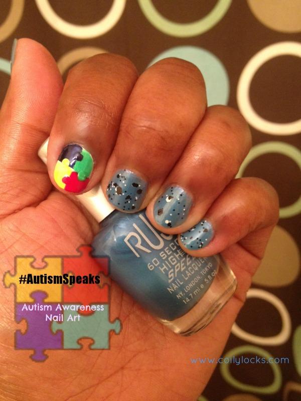 autism awareness nail art