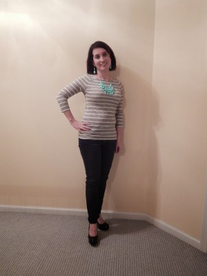striped top and statement necklace