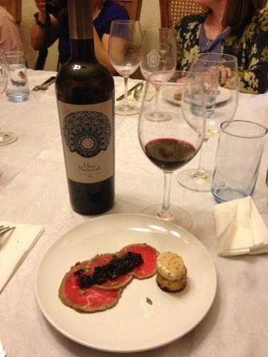 Beef Carpaccio, Cherry Mostarda, Marrow Toast and 2009 Clos Mesorah