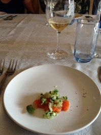 Gin Cured Salmon, Cucumbers, Lime, Mint and Drappier Champagne
