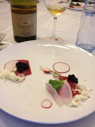 Maguro Tuna, Radishes, Olive Oil, Wasabi and 2009 Yarden Chardonnay