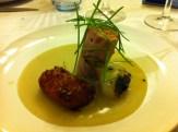 Pastured Chicken, Charred Spring Onion, Petite Onion, Cornbread Puree, Yam Fritter