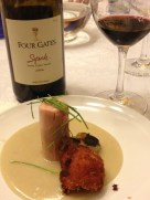 Pastured Chicken Thigh, Cornbread Puree, Yam Fritters, Charred Spring Onion and 2004 4gates syrah