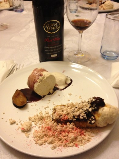 Peanut Butter Mousse, Caramelized Bananas, Bacon Jam, French Toast and Smoked Cinnamon Parfait, Vanilla Ice Cream, Red Wine Caramel with 27 year old Kedem Port wine 2