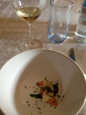 Salmon Belly, Pickled Apples, Watercress, Ginger and 2011 Carmel Riesling