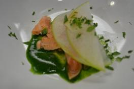 Seared Salmon Belly, Watercress Puree, Pickled Apple, Young Ginger, Lemongrass