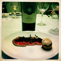 Beef Carpaccio, Cherry Mostarda, Marrow Toast and 2009 Clos Mesorah