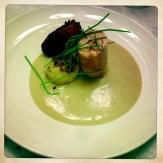 Pastured Chicken Thigh, Cornbread Puree, Yam Fritters, Charred Spring Onion