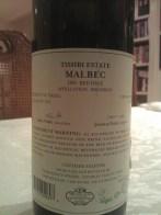 2009 Tishbi Malbec, Estate - back label