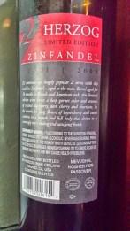 2009 Herzog Zinfandel, Limited Edition, Z2 - back label