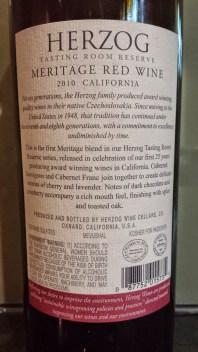 2010 Herzog Meritage, Tasting Room Reserve - back label