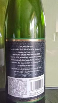 2012 Hagafen White Riesling, Devoto Vineyard - back label