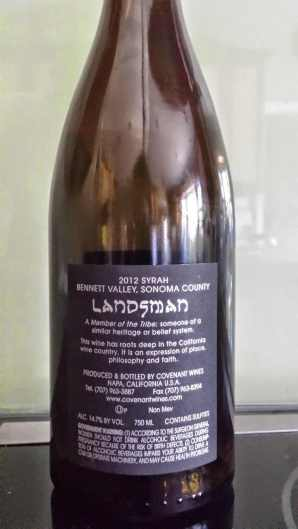 2012 Landsman Syrah - back label