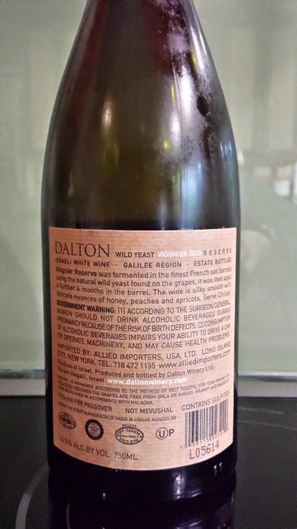 2013 Dalton Viognier, reserve - back label