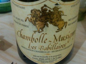 Phillipe Leclerc, Chambolle-Musigny Babillaires 1995 (lieux-dits village)