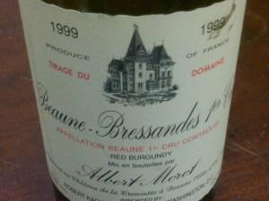 Domaine Albert Morot, Beaune Bressandes 1er Cru 1999