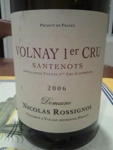 Nicholas Rossignol Volnay Santenots 2006