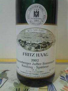Fritz Haag Brauneberger Juffer Sonnenuhr Riesling Spatlese Mosel 2002 #1