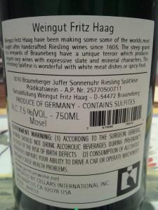 Fritz Haag Brauneberger Juffer Sonnenuhr Riesling Spatlese Mosel 2010 #1