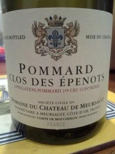 Chateau de Meursault Pommard Epenots 1999
