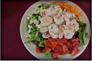 WINEormous enjoys a Wild Georgia Shrimp salad