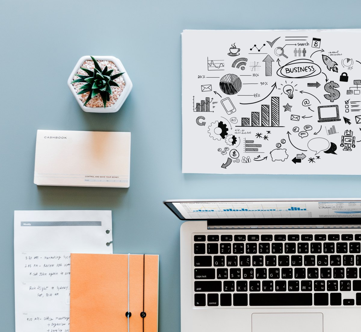 Business planning on a desk