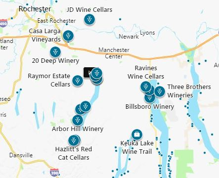 Map of wineries near Sutherland House Victorian Bed & Breakfast.