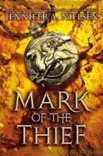 Mark of the Thief by Jennifer Nielsen -- When Nic, a slave in the mines outside of Rome, is forced to enter a sealed cavern containing lost treasures of Julius Caesar, he finds himself in possession of an ancient amulet filled with magic once reserved for the Gods, and becomes the center of a conspiracy to overthrow the emperor and destroy Rome.