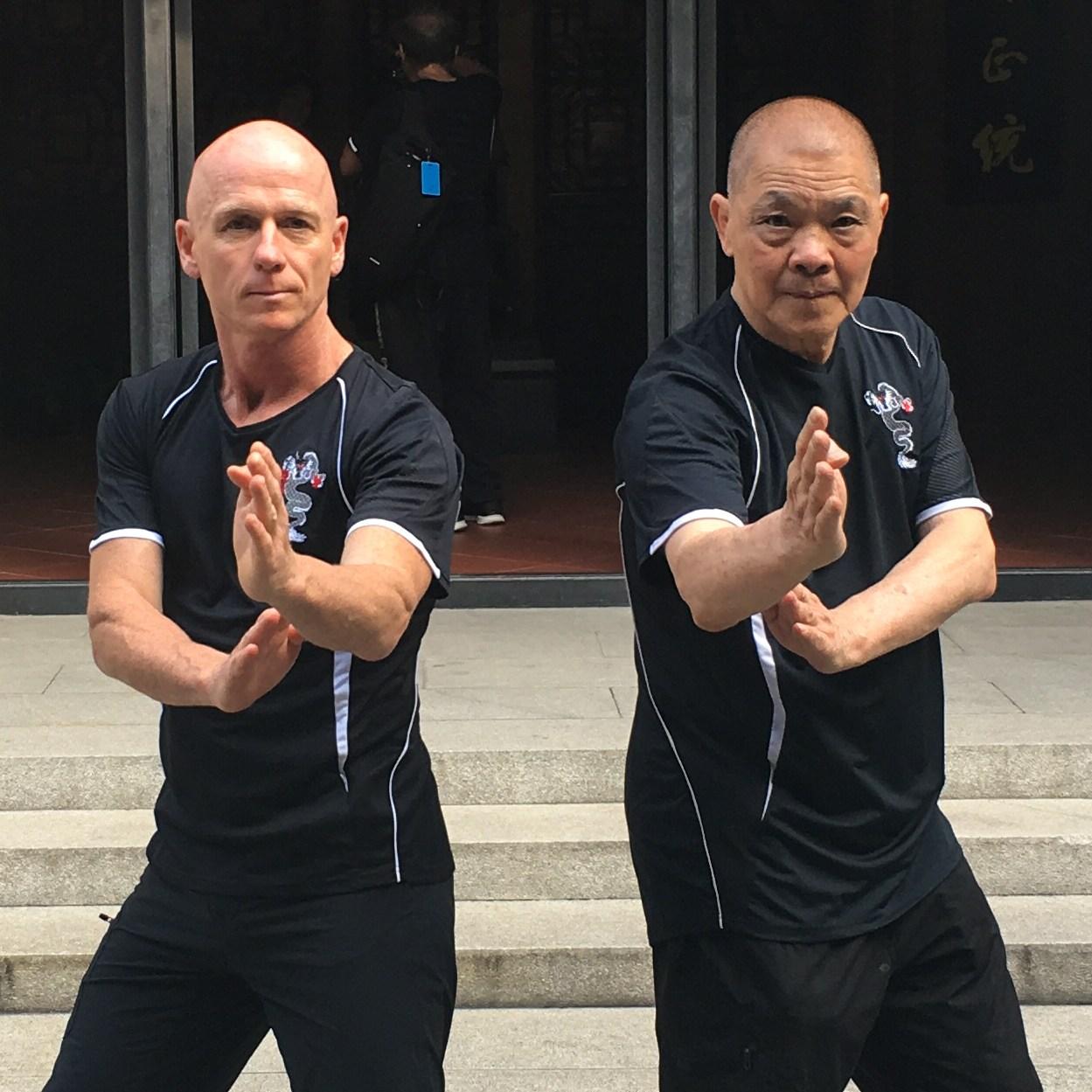 Sifu paul Maclaine and Grandmaster Cheung, China tour Ip mans house. Wing Chun Kung Fu Studio 118 South Pine Road Brendale Qld Australia.