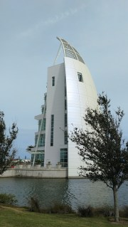 Exploration Tower at Port Canaveral, Florida - 7 stories with an observation deck on the top then museums each level below