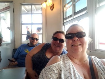 Jason, Barb, Deina enjoying the dinner and cruise on the Halifax River at Daytona, Florida