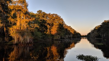Backwater channels left by the oil companies with http://bayoubadboysbowfishing.com/ sunset tour in Lafitte, LA