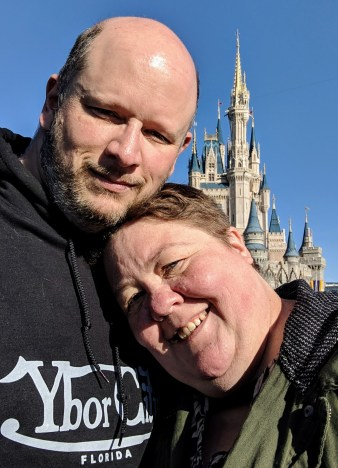 Stopping in front of Cinderella's castle for the iconic picture.