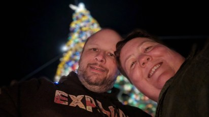 Barb and Jason at the Epcot Christmas Tree
